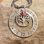 Personalised hand stamped family Washer with charm & birthstone - Pendant